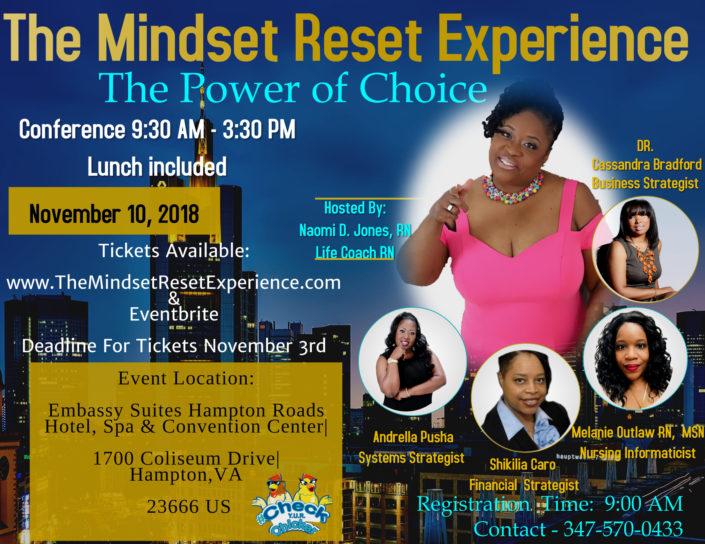 The Mindset Reset Experience | Naomi D. Jones | Registered Nurse | Mindset | Life Coach | Event | Hampton, VA